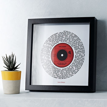 Personalised Lyrics Record Print