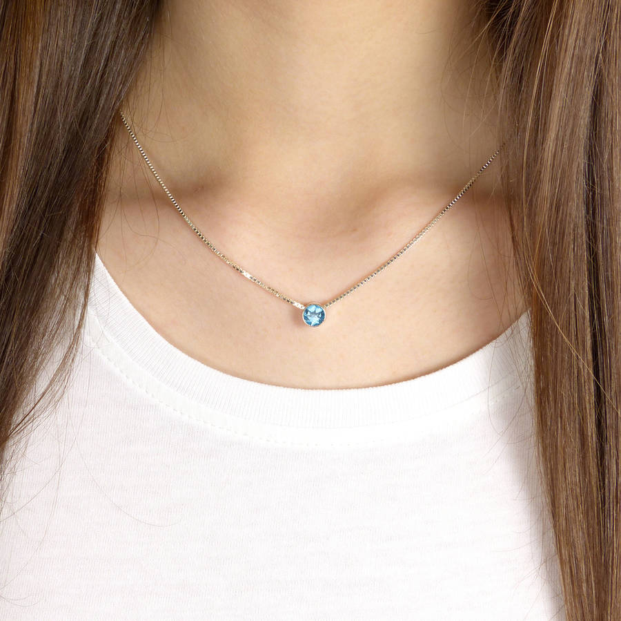 Blue Topaz Necklace December Birthstone By Lilia Nash