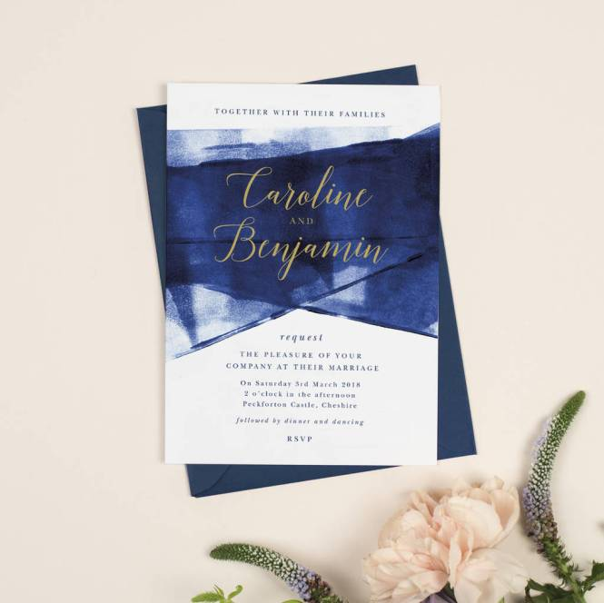 Grace Navy And Gold Wedding Invitations