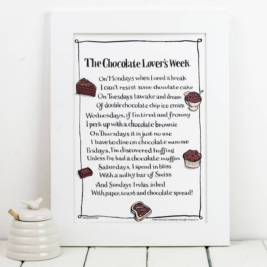 Personalised Chocolate Print With Chocolate Poem By