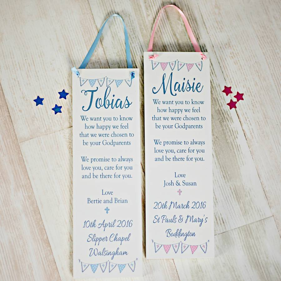 Christening Gifts Girls Boys Plaque Godparent By