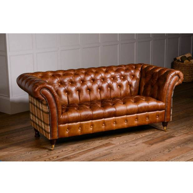 Sofa chesterfield leather for Leather and tweed sofa