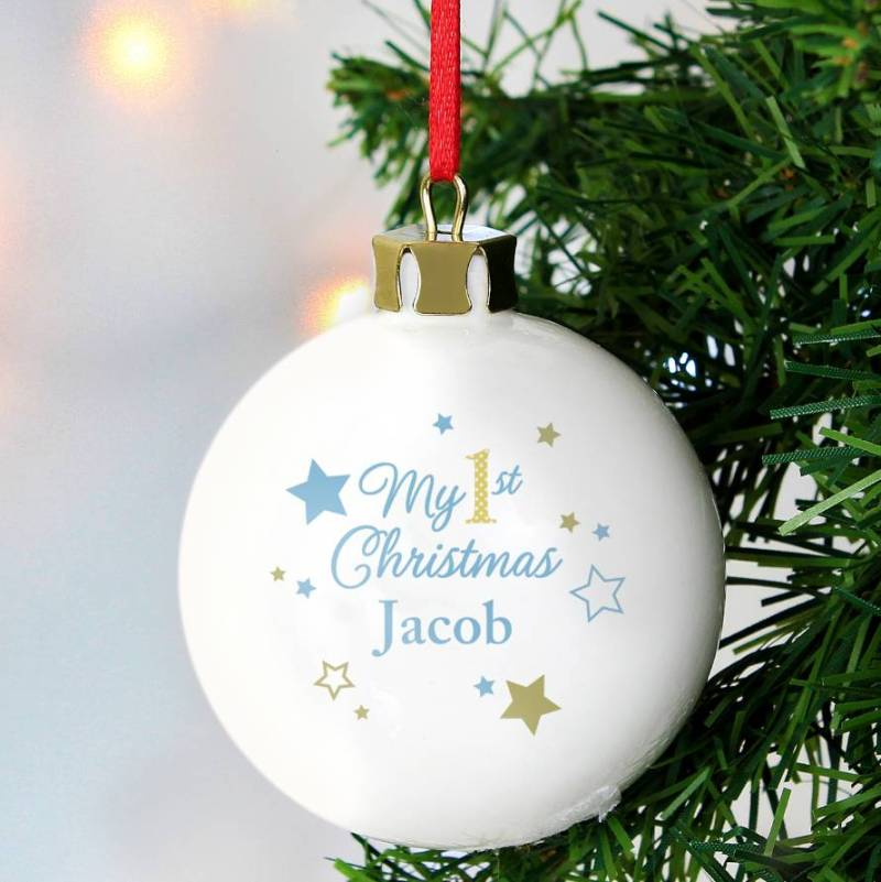 Personalised baby 1st christmas decorations for Babys first christmas decoration