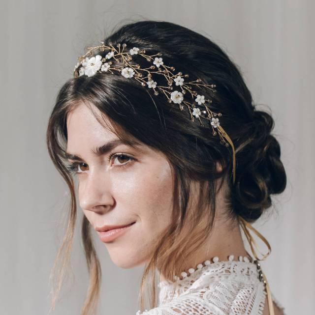 bohemian crown style wedding hair vine katarina