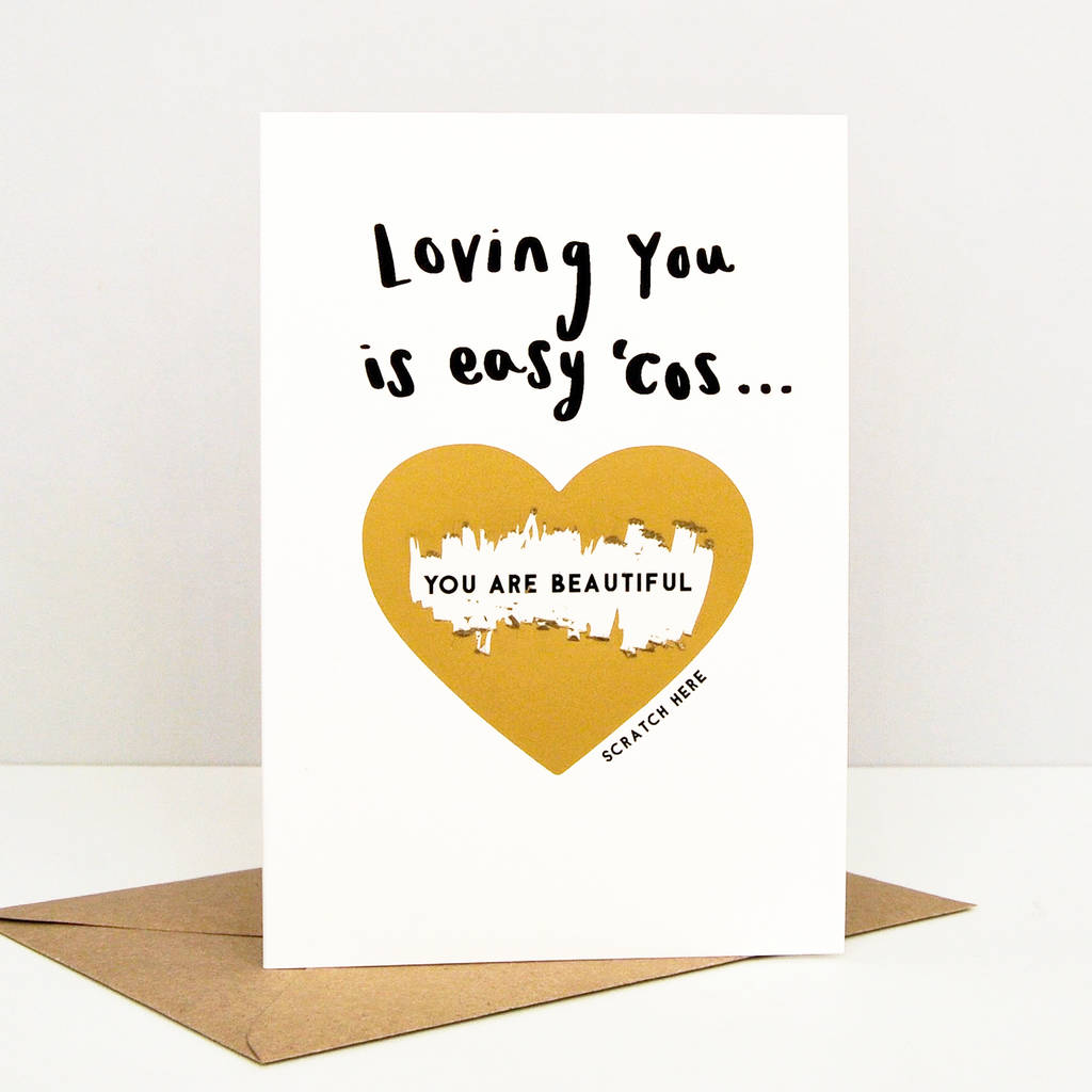 Loving You Is Easy Valentine Scratch Card By Studio Thirty