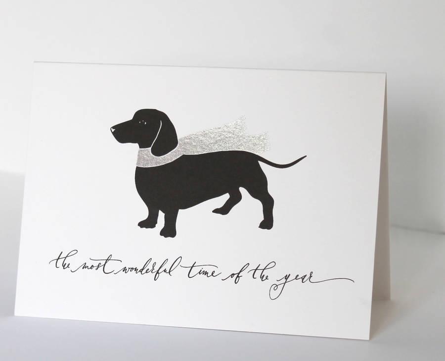 Dachshund Dog In Scarf Christmas Card By Avenue Litho