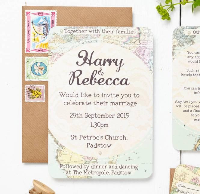 Vintage Letterpress Wedding Invite