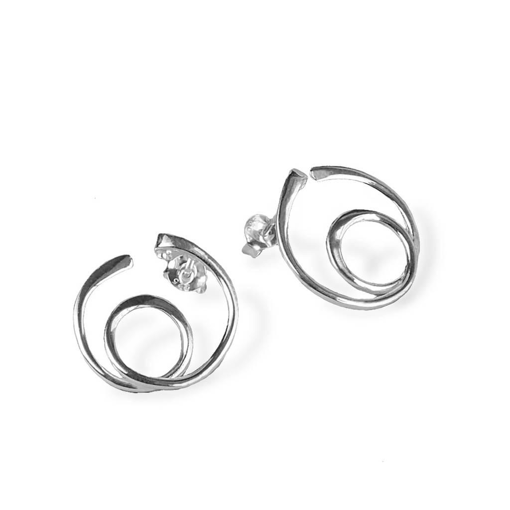 Sterling Silver Loops Stud Earrings By Martha Jackson