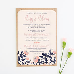 Blush And Navy Fl Evening Invite With Gems