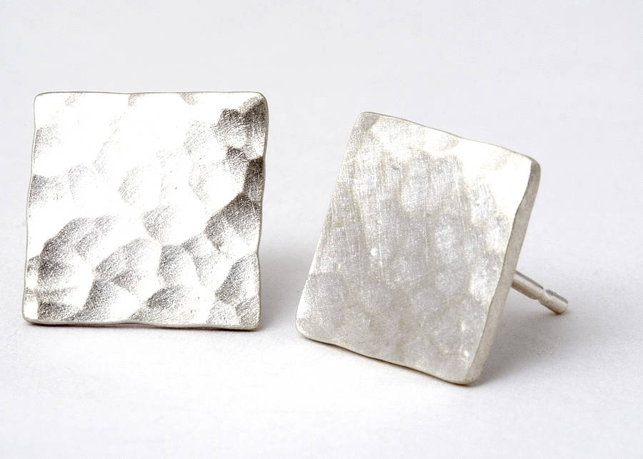 Hammered Square Stud Earrings By Tlk Notonthehighstreet Com