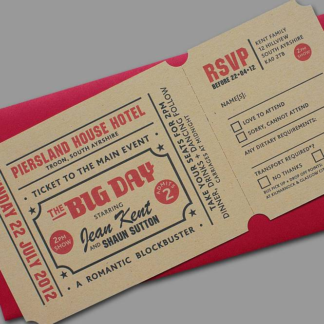 Excellent Theatre Ticket Wedding Invitations Sa97