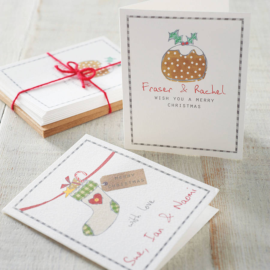 Charming Personalised Christmas Card Packs By Violet