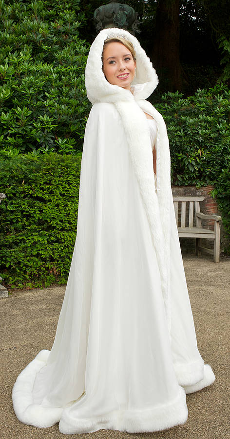 hooded bridal cape with faux fur trim by wonderful wraps ...