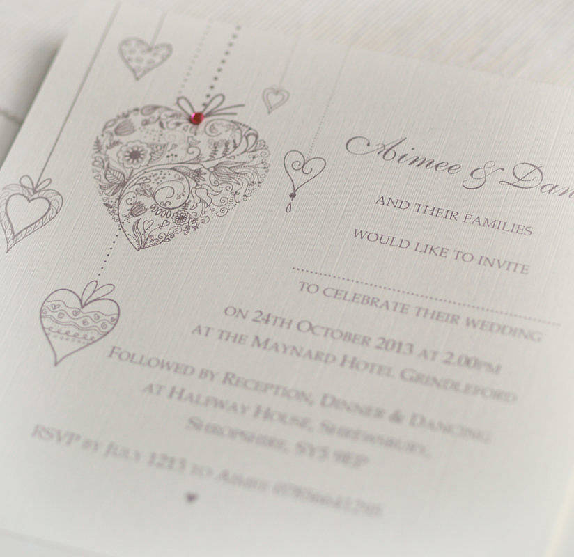 Hearts Personalised Wedding Invitations