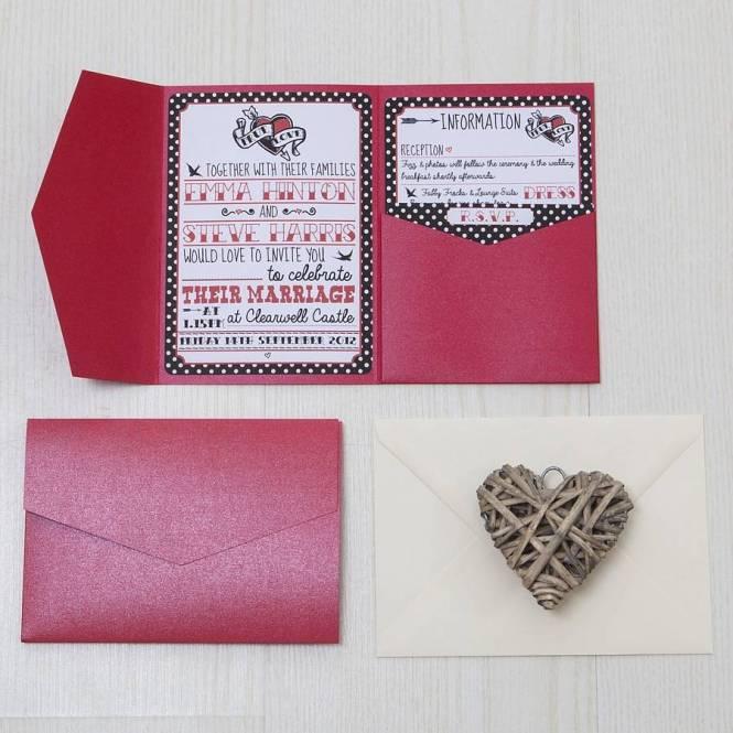 Modern Red And Black Pocketfold Wedding Invitation Set 100 Invitations