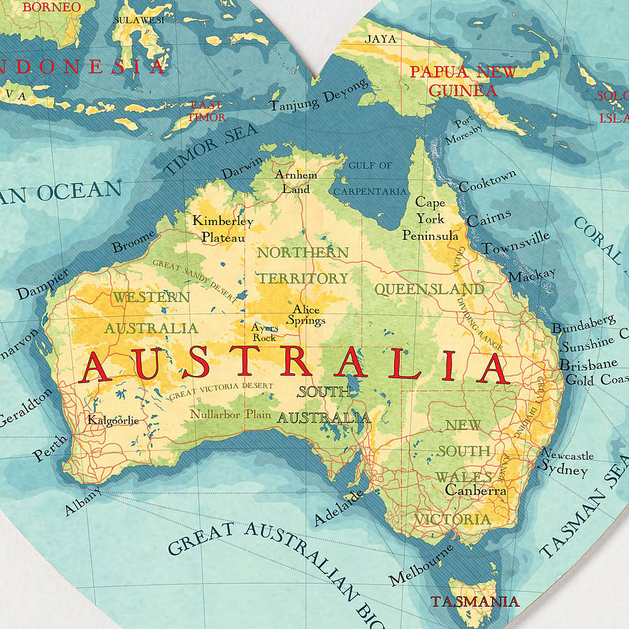 australia map heart print by bombus off the peg ...