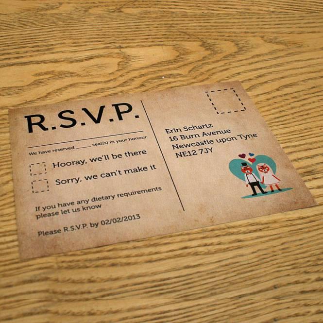 Typewriter Themed Retro Wedding Invitation