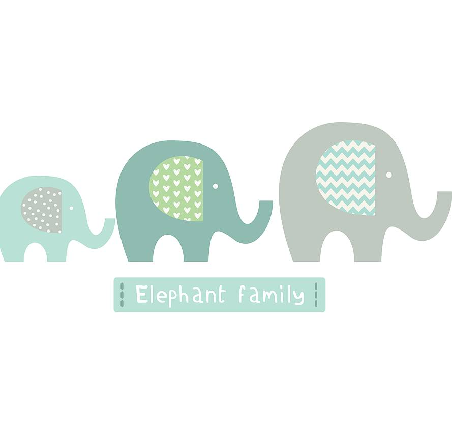 Elephant Family Fabric Wall Stickers By Littleprints