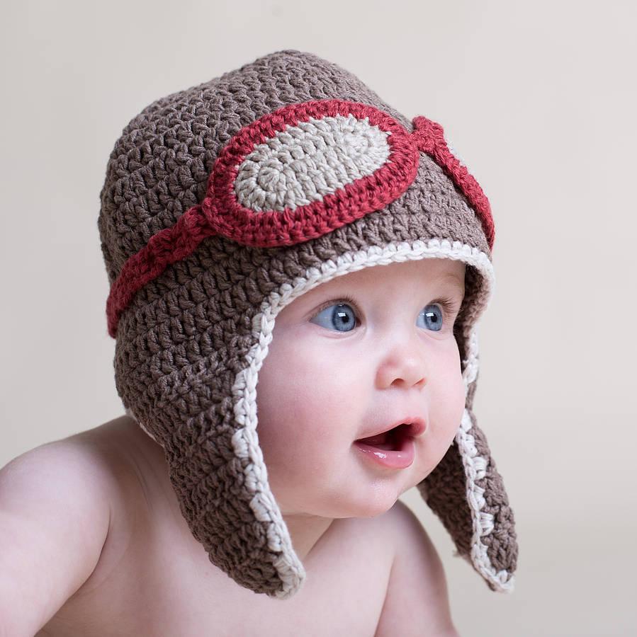 hand crochet baby aviator hatattic | notonthehighstreet