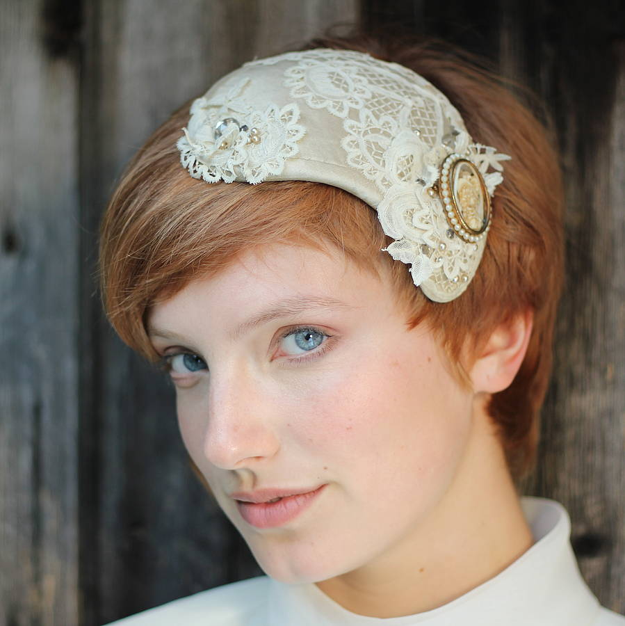 Bridal Vintage Lace And Pearl Headdress By The
