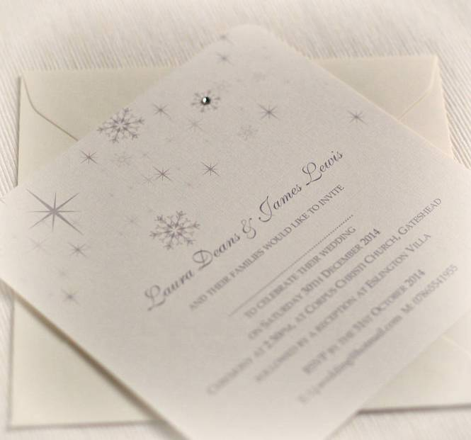 10 X Frozen Winter Wedding Invitations Christmas Snowflakes