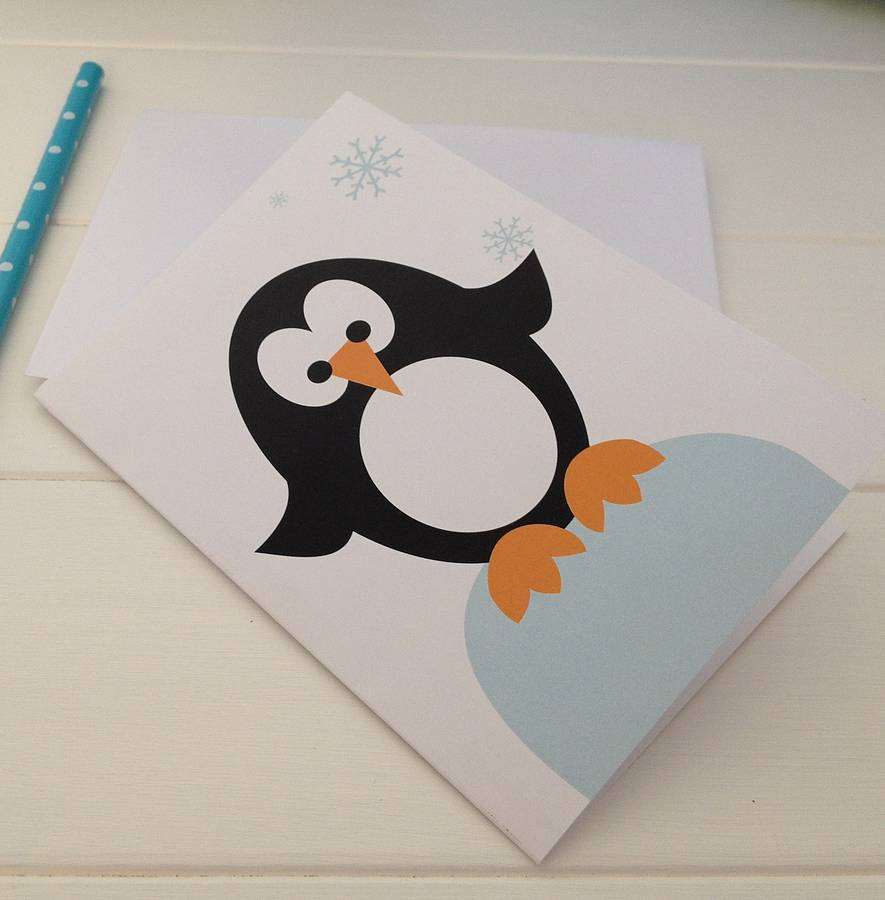 Christmas Penguin Card By Half Pint Home