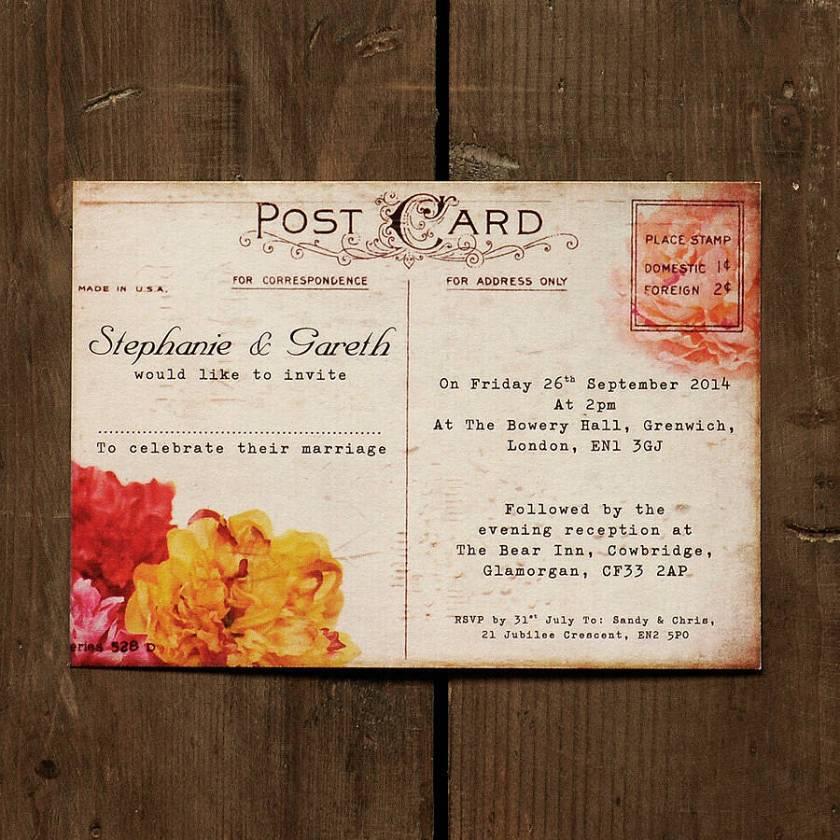 Fl Vine Postcard Wedding Invitation