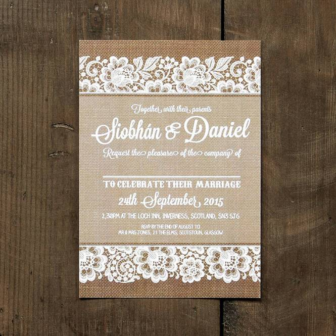 Vintage Lace Pearls Wedding Invitation Card Box Hessian Burlap Eco Friendly