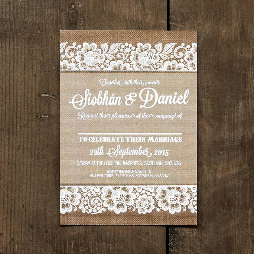 Vine Lace Invitation With Burlap Background