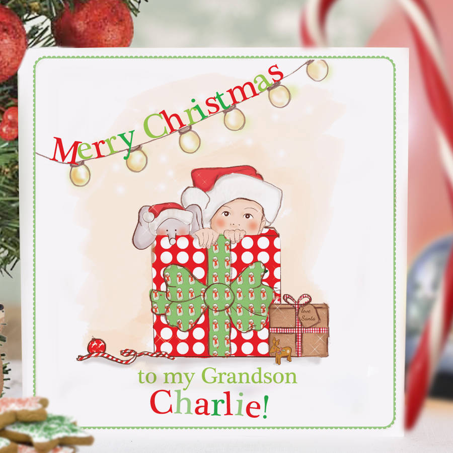 Personalised Babys First Christmas Card Surprise By