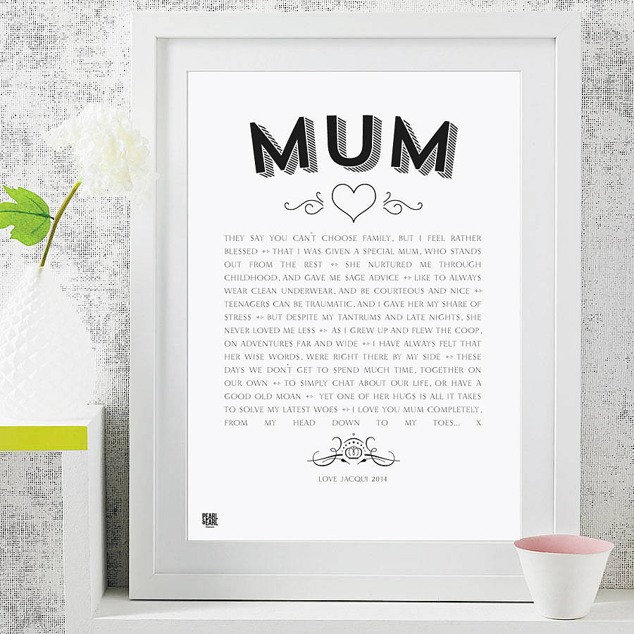 My Mum Poem Modern Style Art Print By Pearl And Earl