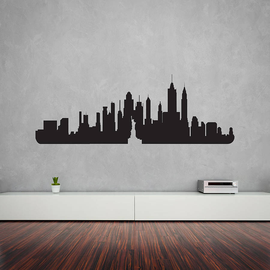 new york city skyline wall art decal by vinyl revolution     New York City Skyline Wall Art Decal