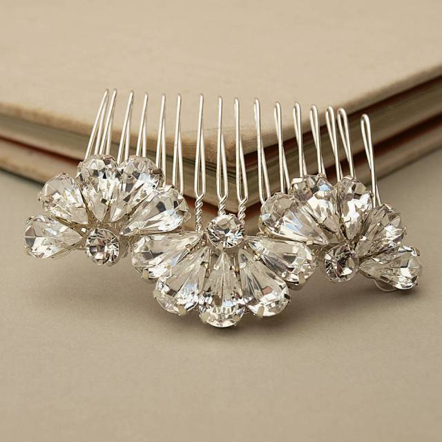 feather and fan crystal bridal hair comb