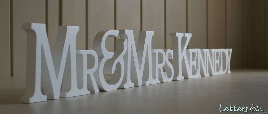 Personalised 'mr & Mrs' Wooden Name Letters By Letters Etc