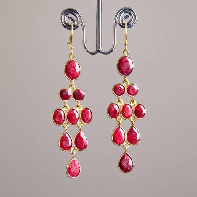 Ruby Gold Chandelier Drop Earrings