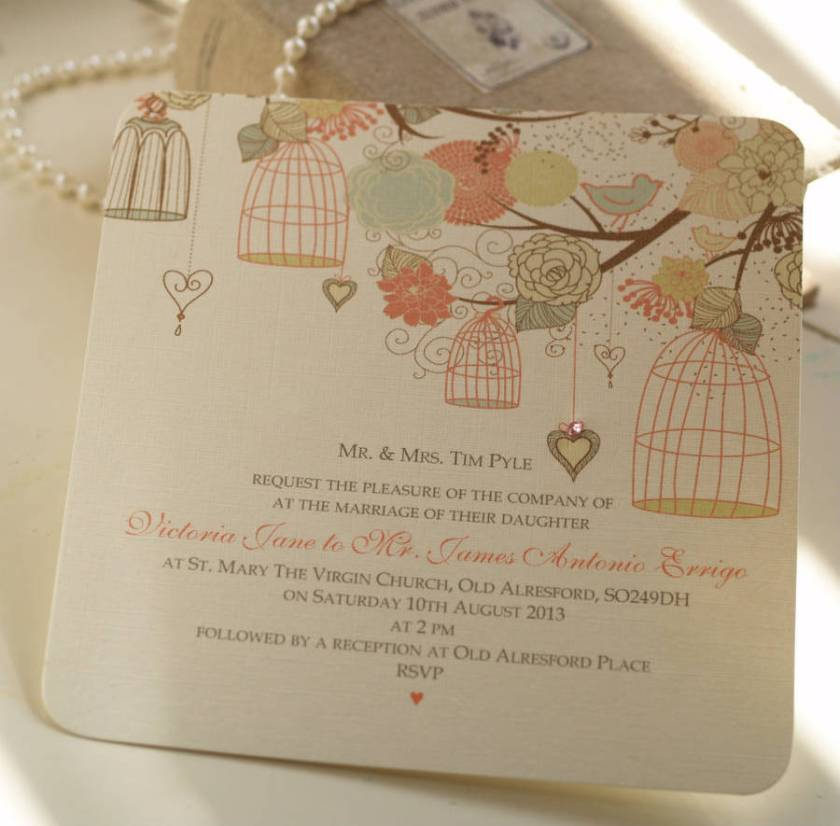 Hanging Vine Birdcages Wedding Invitations