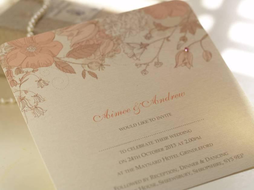 Peach Blossom Personalised Wedding Invitations