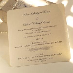 Wedding Invitation Uk Rectangle Landscape Cream Clic Black Formal Wording Carton Paper In Ivory