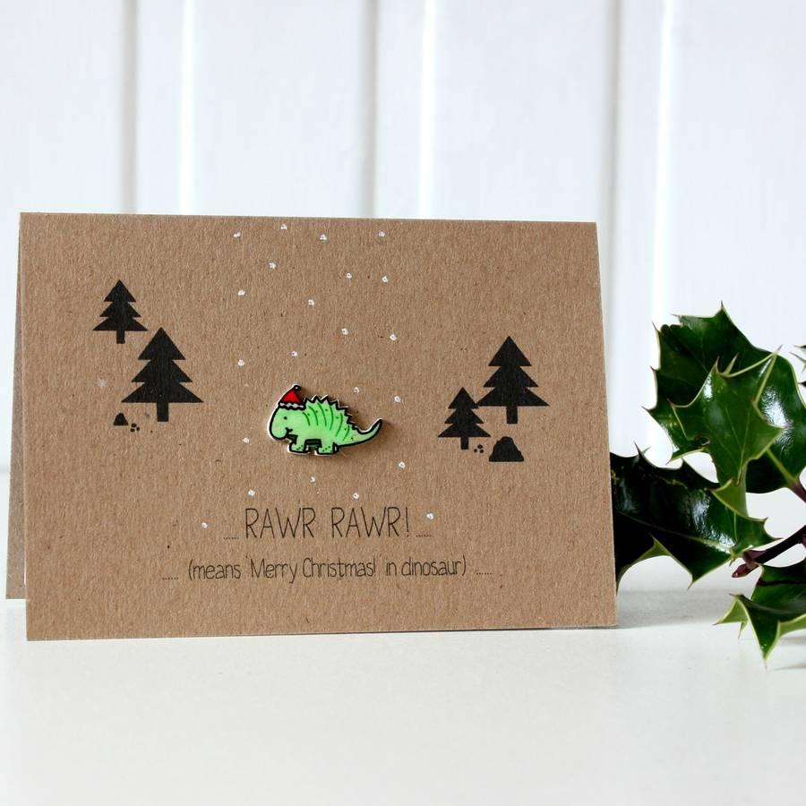 Dinosaur Christmas Card Rawr Merry Christmas Dinosaur By