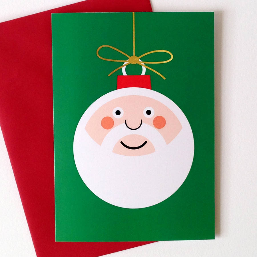 Santa Bauble Christmas Card By Hello Dodo