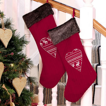 Nordic Heart Christmas Stocking