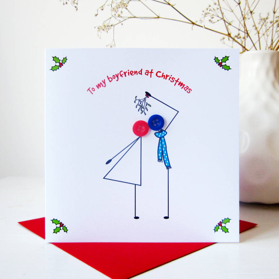 To My Boyfriend At Christmas Button Card By Mrs L Cards