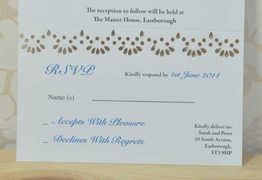 Lace Laser Cut Wedding Invitation Rsvp