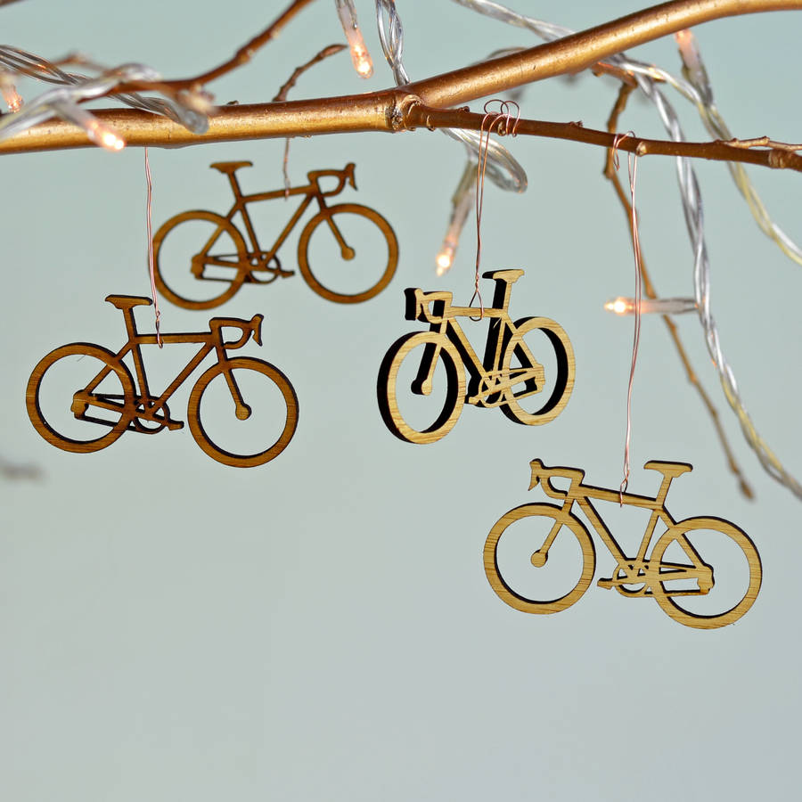 Christmas Bamboo Bicycle Tree Decorations By Oakdene
