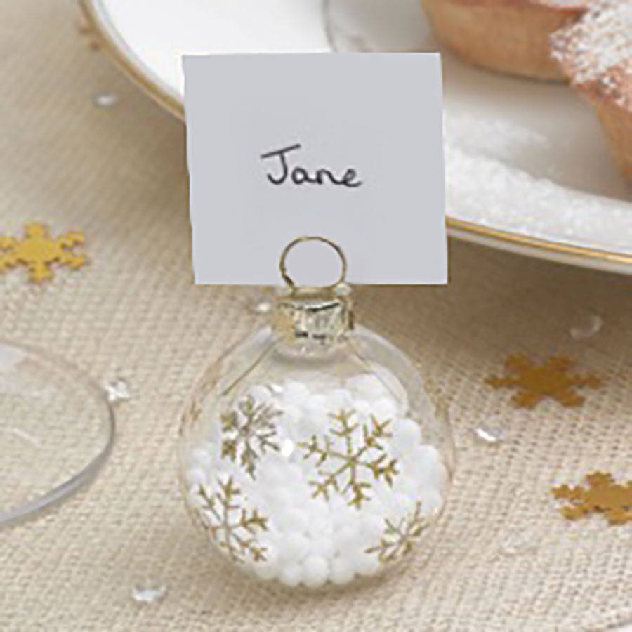 Christmas Gold Snowflake Bauble Place Name Holders By