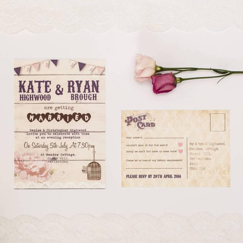 Birdcage And Bunting Wedding Invitation