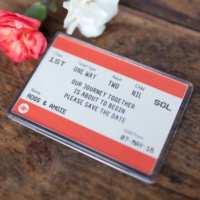 Train Ticket Save The Date Mag