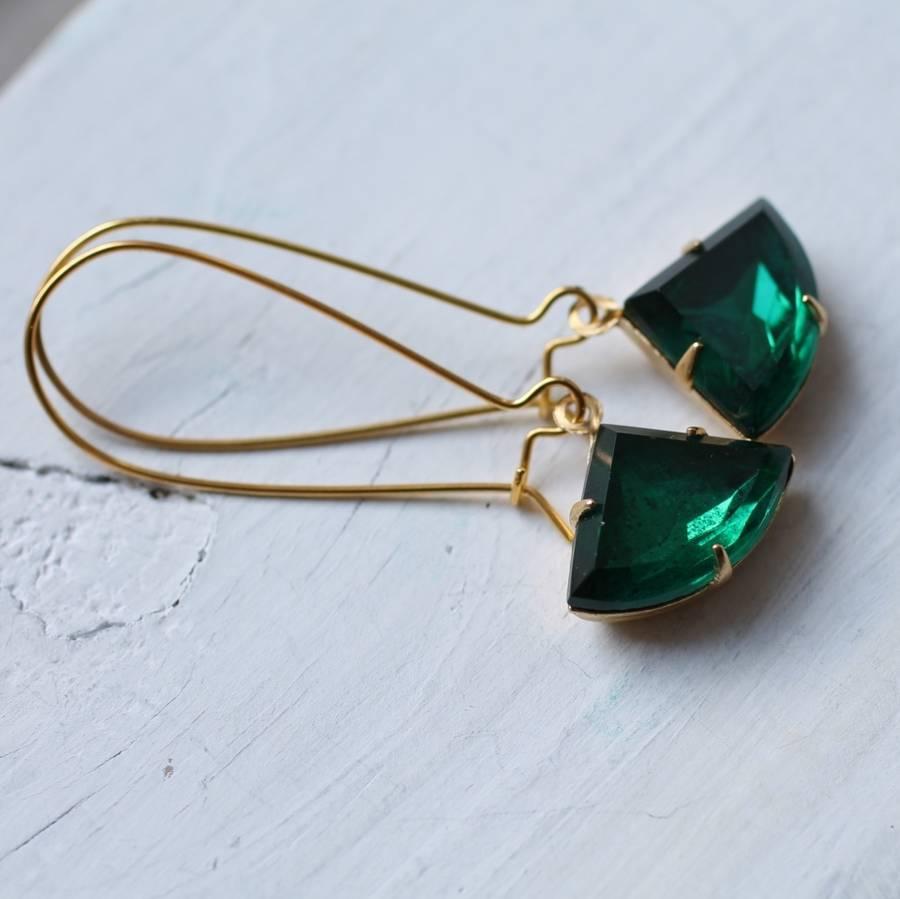 Art Deco Navy Earrings