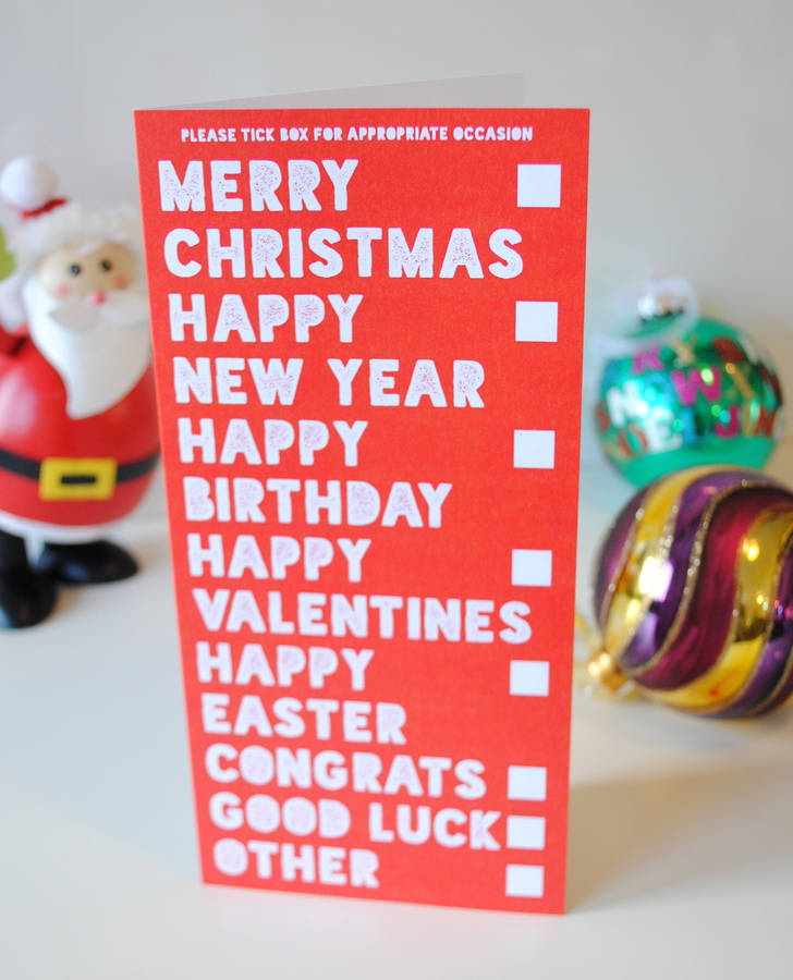 All Occasions In One Funny Christmas Card By Wedfest