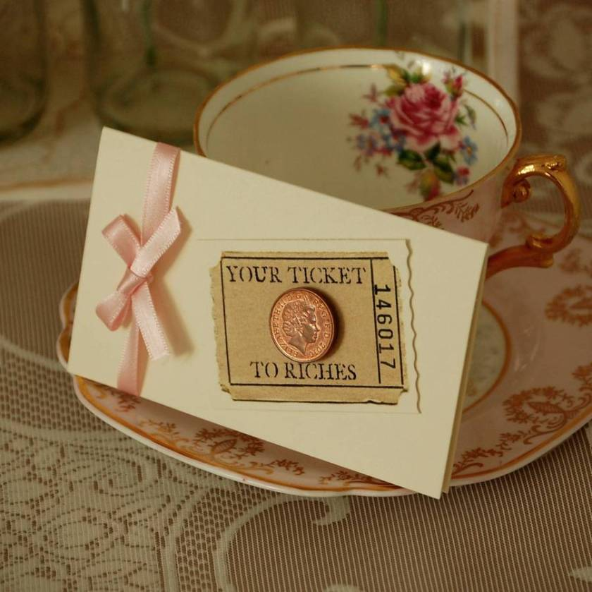Five Ticket To Riches Scratch Card Holders Cream With Pastel Pink Ribbon